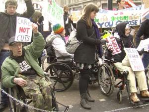 Members of Disabled People Against Cuts protest in Britain