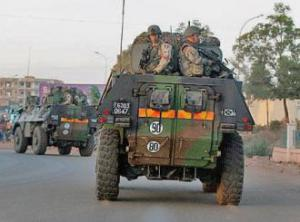 French troops drive through Mali's capital city of Bamako