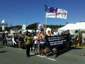 Sovereignty... Protesters at Waitangi fly the flag of the Confederated Tribes of Aotearoa, which declared independence in 1835. (Photo: Derwin Smith)
