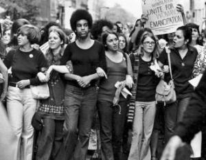 Marching during the Women's Strike for Equality in 1970