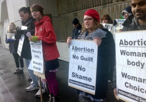 Socialists and others picket anti-abortion protesters outside the Dunedin hospital last year.