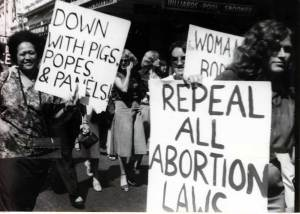 Women protest in Wellington on International Women's Day 1978 over the newly passed abortion law. [Photo from Socialist Action newspaper]