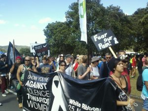 A major theme at the Hikoi at Waitangi this year was violence towards women. (Photo: Derwin Smith)