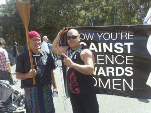 Waitangi and women's liberation - Protesters at Waitangi highlight concerns about violence against women. Oppression doesn't fit neatly into any one box. (Photo: Derwin Smith)