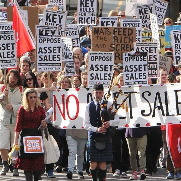 "Dunedin: ""Look who bought placards!"""