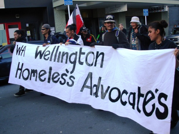 Wellington Homeless Advocates marching against  asset sales with 500 other wellingtonians