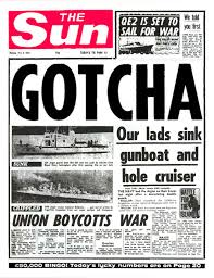 British media gloating during the Falklands war. Unions stand opposed.