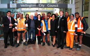 After the extraordinary meeting of Wellington City Council. Sold; Maori and Pacific workers with Paul Eagle (left), other councillors and the PSA's Glen Kelly.