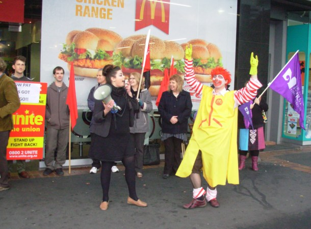 Striker Ronald turned out to support the striking workers