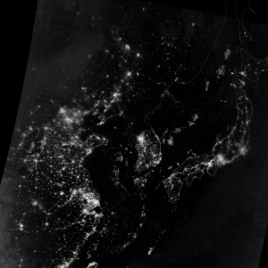 The Korean peninsula at night. Guess where the 38th parallel lies.