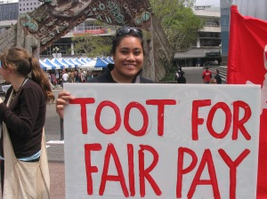 Toot for fair pay