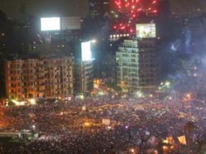 Tahrir Square erupts in celebration over the downfall of Mohamed Morsi