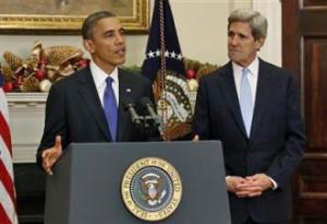 Barack Obama and John Kerry answer reporters' questions (WhiteHouse.gov)