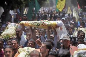 A funeral for one of the victims of Israeli airstrikes in Gaza (Jordi Bernabeu Farrús)