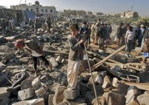 yemen air strikes aftermath-rubble-a