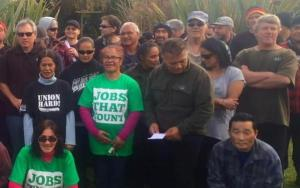 We will always be union: Meatworkers Union members and whānau. Photo source: Jobs that Count.