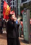Wellington UNITE organiser Heleyni Pratley leading workers in struggle