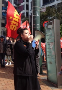 Wellington UNITE organiser Heleyni Pratley leading workers in struggle
