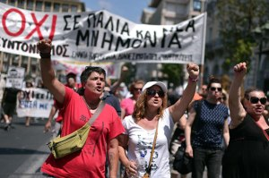 Workers demonstrate in July against the memorandum