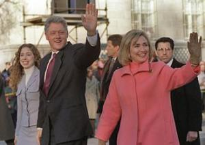 The Clintons on parade for Bill Clinton's inauguration in 1997 (White House)