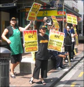 Unite members at Starbucks strike, 2006.